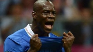 Italian forward Mario Balotelli reacts a