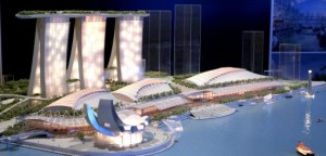 Scale model of Marina Bay Sands is displayed during news conference in Singapore