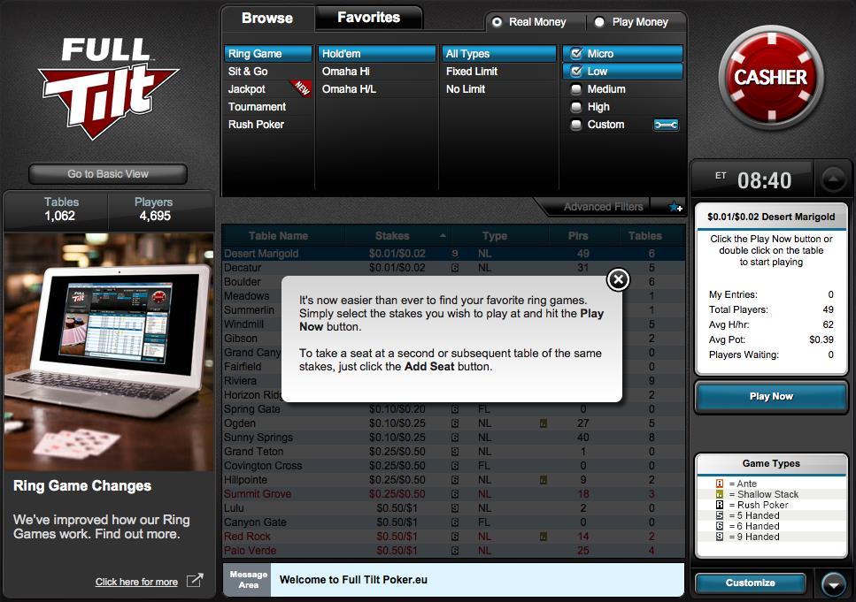 full tilt poker game selection
