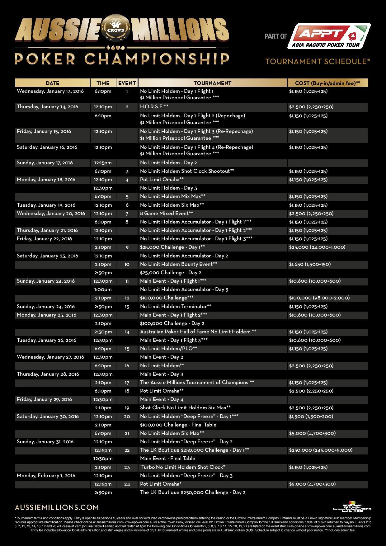 Aussie Millions 2016 Schedule