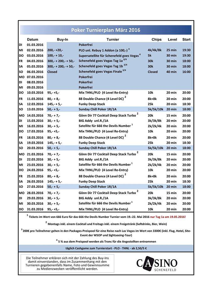Casino Schenefeld Turnier Kalender März