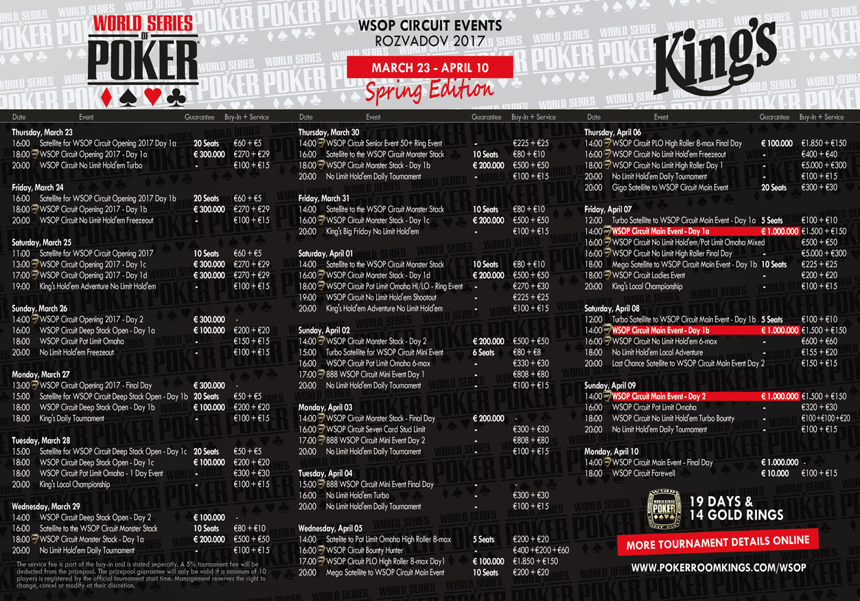 wsop main event schedule