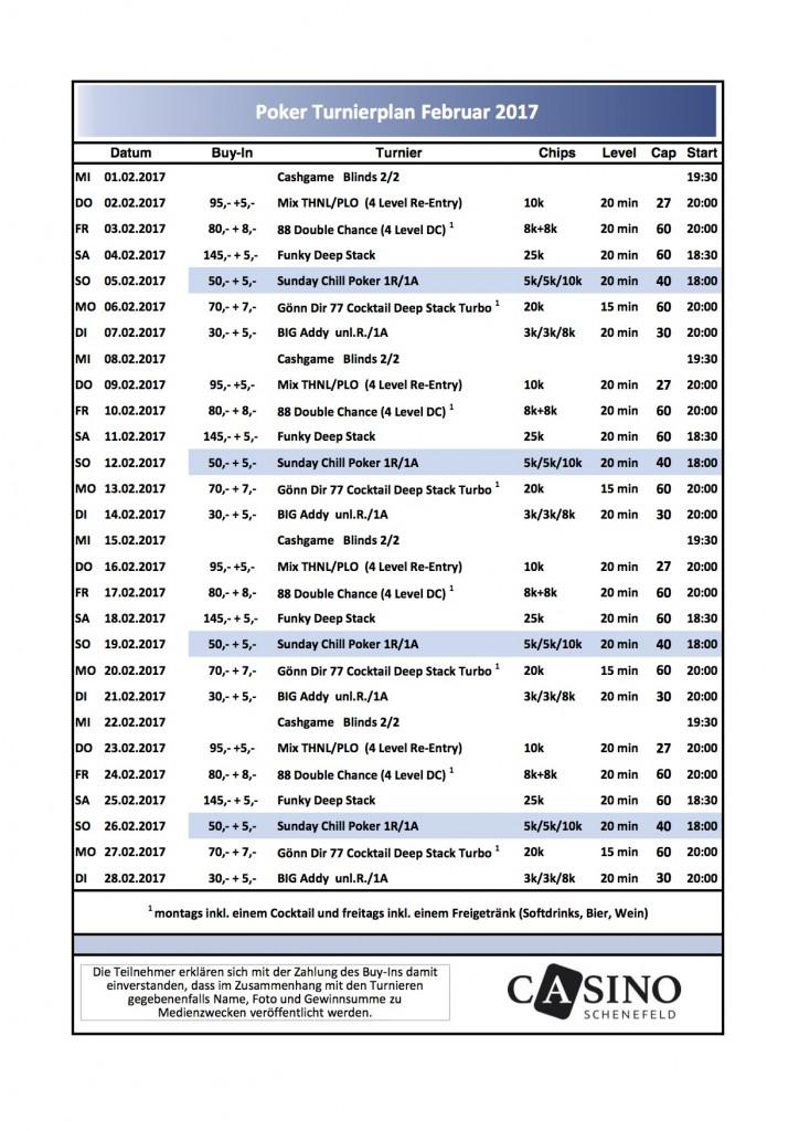 Turnierplan Februar 2017