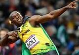 Usain Bolt in typischer Pose