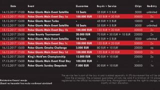 Poker Giants Masters Schedule