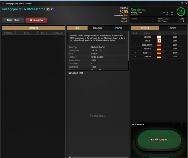 PPI Poker HGP Freeroll