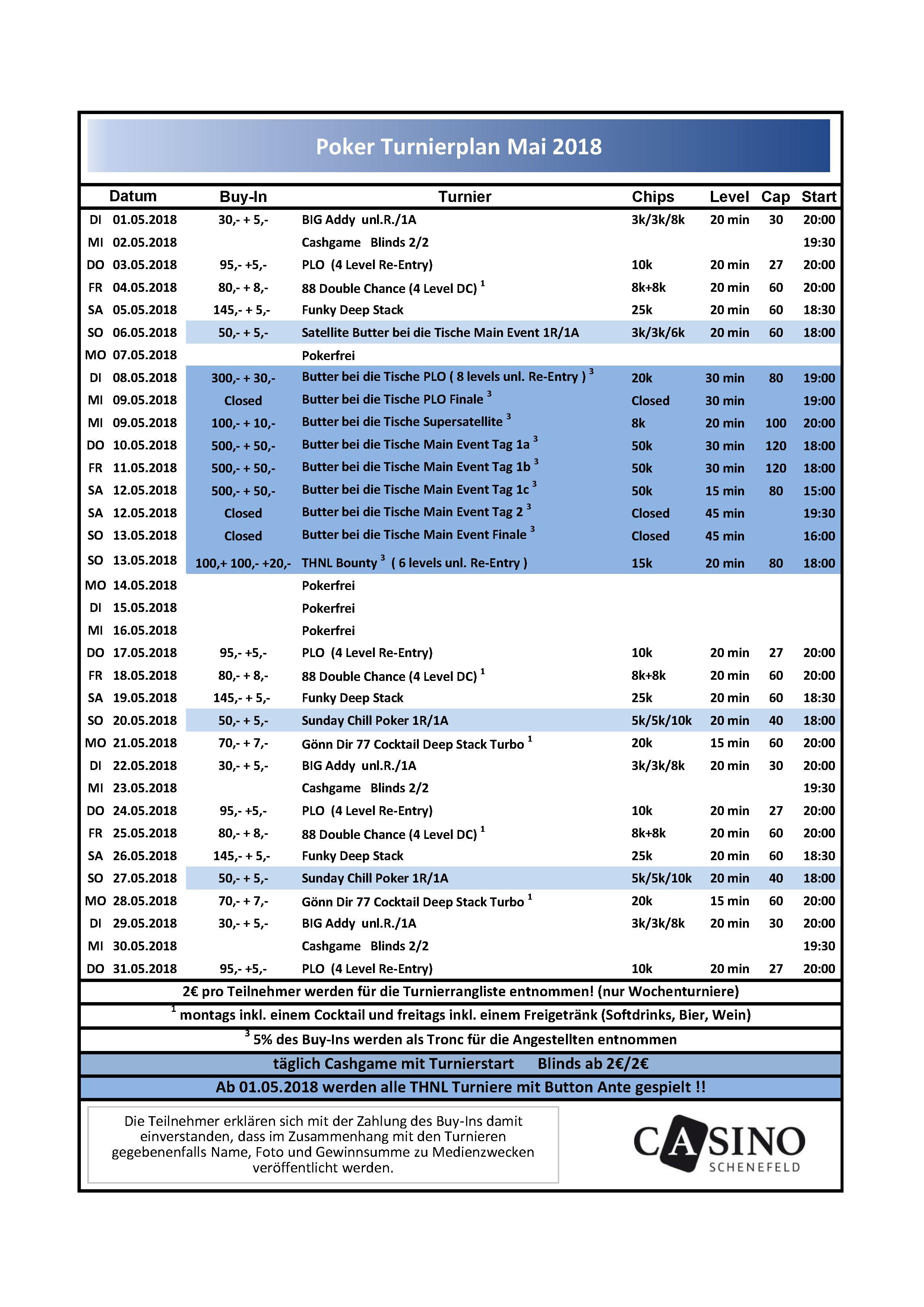 Turnierplan Mai 2018