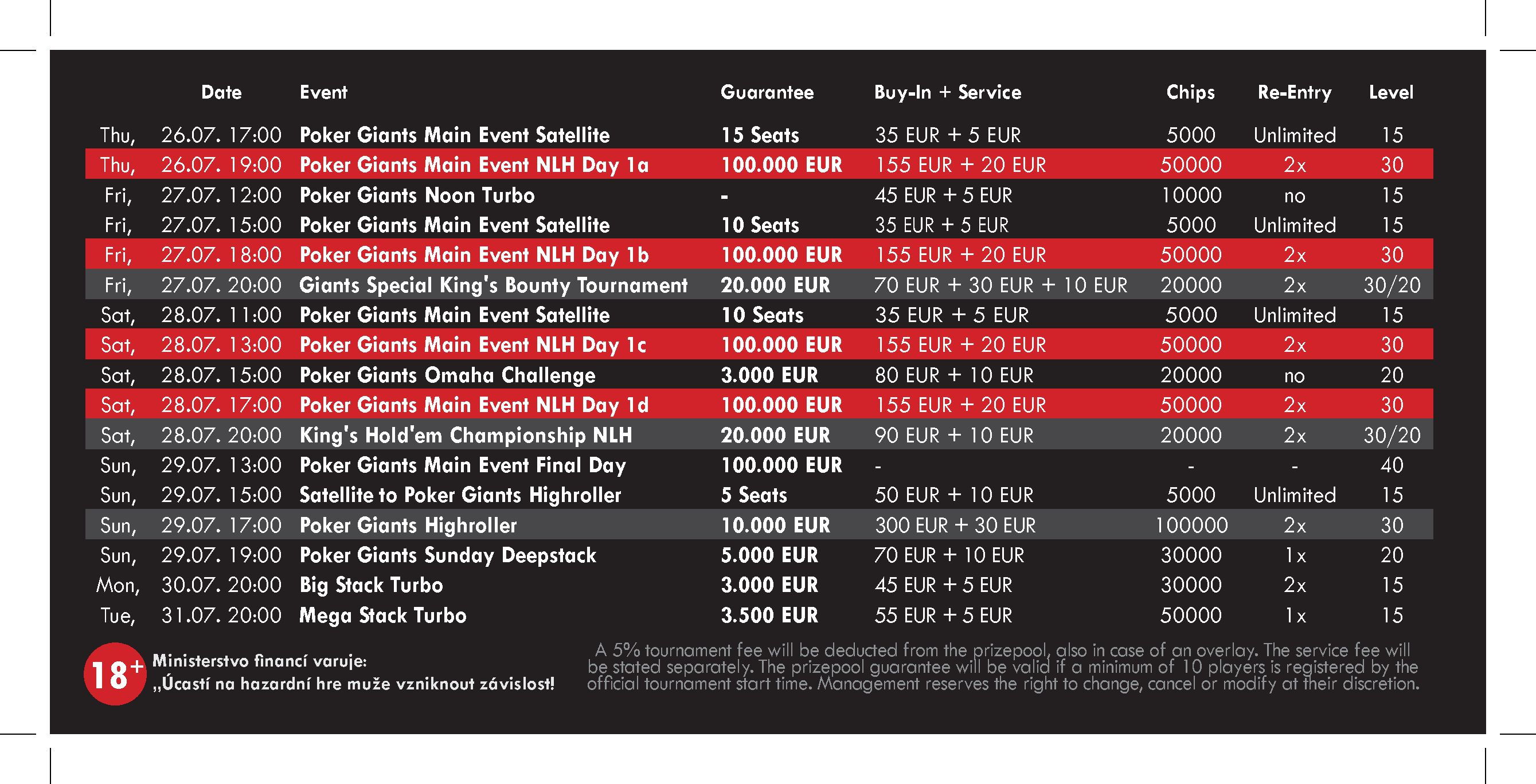 Schedule Poker Gianst Festival