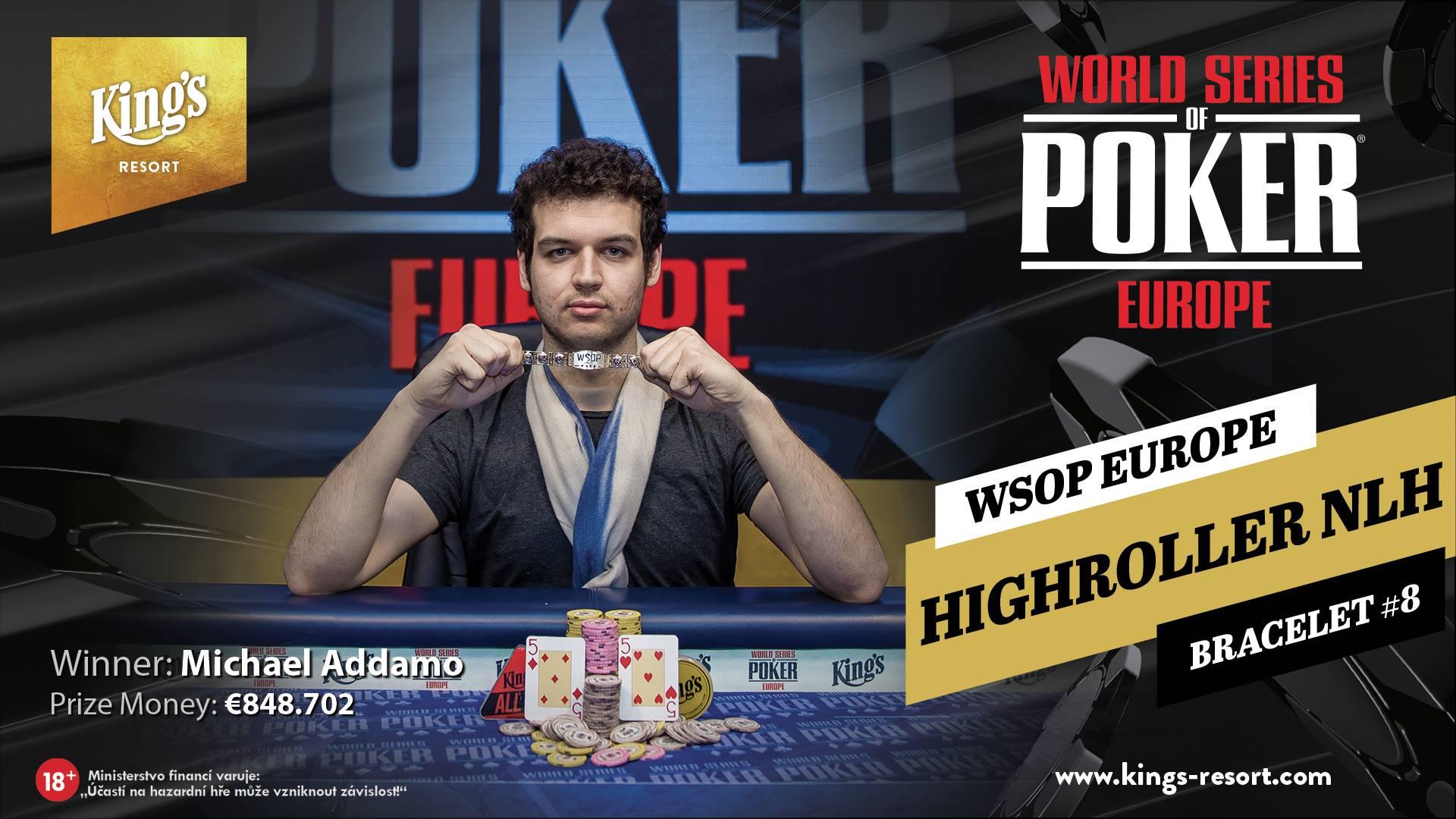 25.10.2018 Winner WSOPE Highroller NLH - Bracelet #8