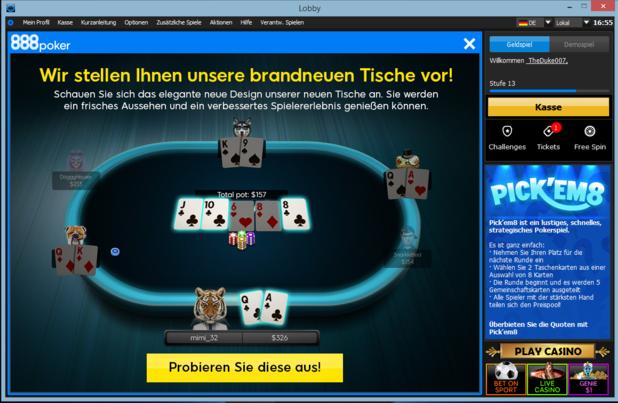 888 poker stellt neuen client vor und gibt einen ausblick for Pokerstars tisch design
