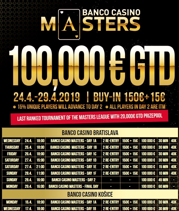 Banco Casino Masters Schedule